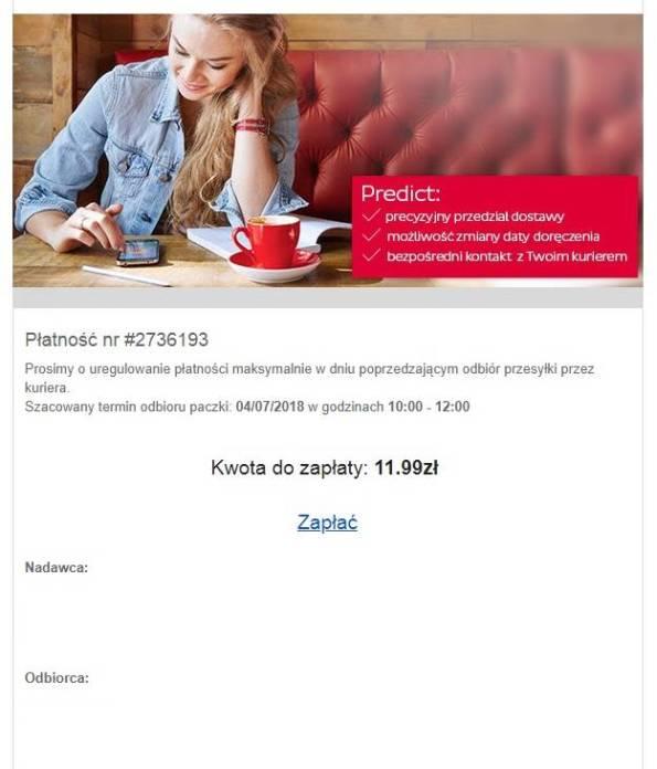 Fałszywy email DPD Polska